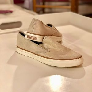 Sperry Topsiders Gold Slip On Sneakers Size 9.5